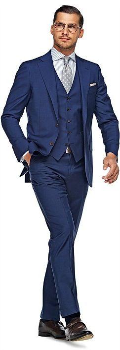 Suitsupply Lazio cut wool/mohair blue plain 3 piece suit ...