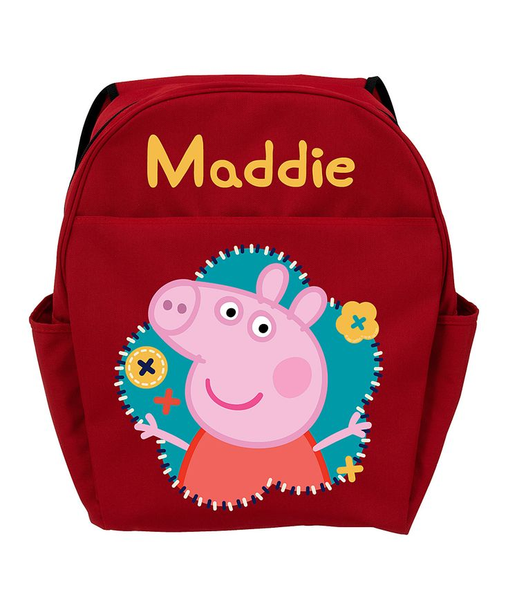 14'' Red Peppa Pig Flower Personalized Backpack