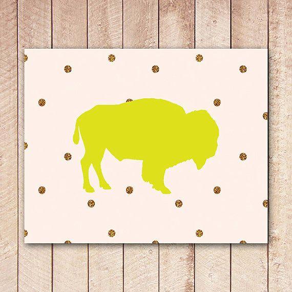 Buffalo druckbare Kunstdruck, neongelb, Gold Glitter Dots, Whimsical Wandkunst, druckbare Dekor