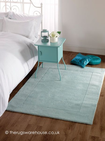 Tuscany Blue Rug, a plain 100% wool hand-tufted rug in duck egg blue colour http://www.therugswarehouse.co.uk/tuscany-blue-rug.html #rugs #hallrunners #interiors