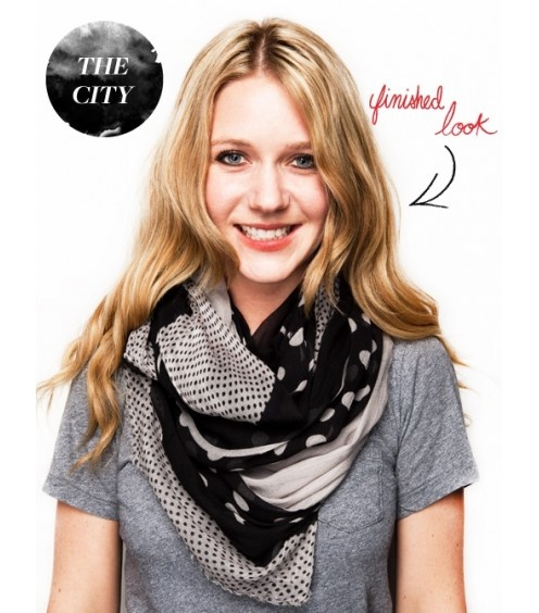 scarf-tying tutorial slideshow. I wore my scarf like this today and loved it :)