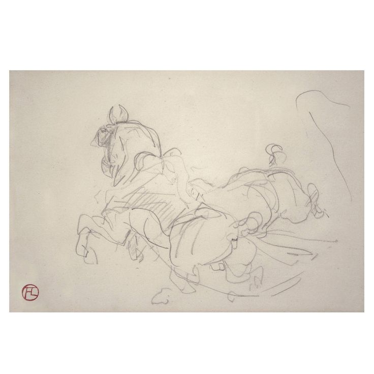 Rare Original Pencil Drawing of Horses by Henri de Toulouse-Lautrec, 1881 | From a unique collection of antique and modern drawings at https://www.1stdibs.com/furniture/wall-decorations/drawings/
