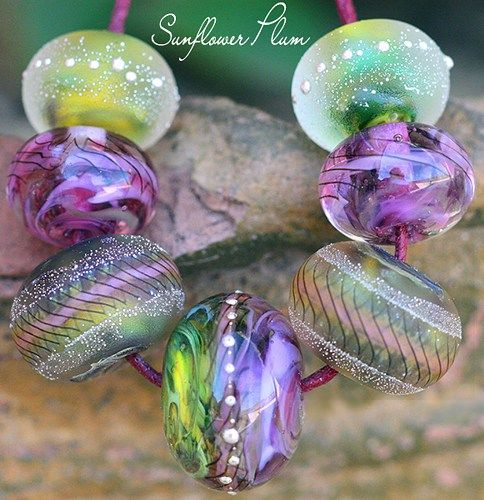 sunflower plum rounds 7 handmade glass lampwork beads sra