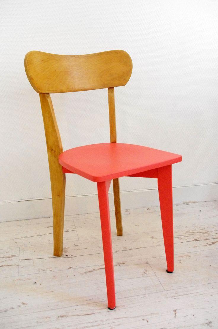 Chaise d'enfant rétro bois et corail : Meubles et rangements par abracadabroc