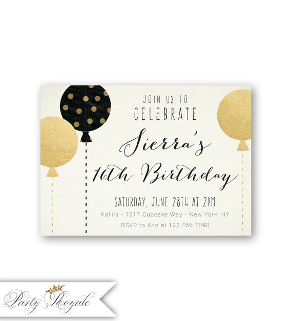 Black and Gold Teen Birthday Invitations 15th 16th 17th or