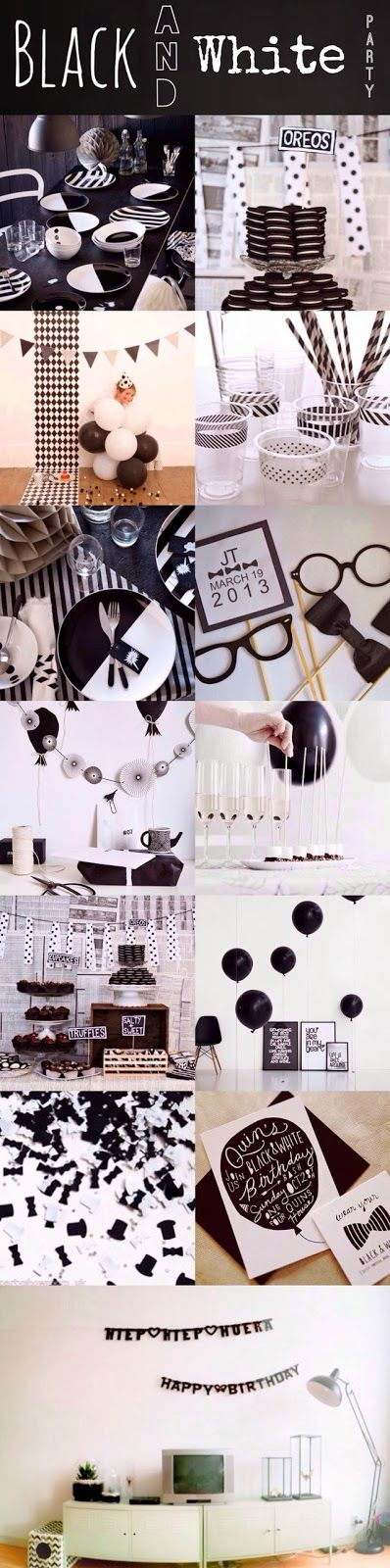Black & White Theme Party Ideas || onihomemade.blogspot.com ||