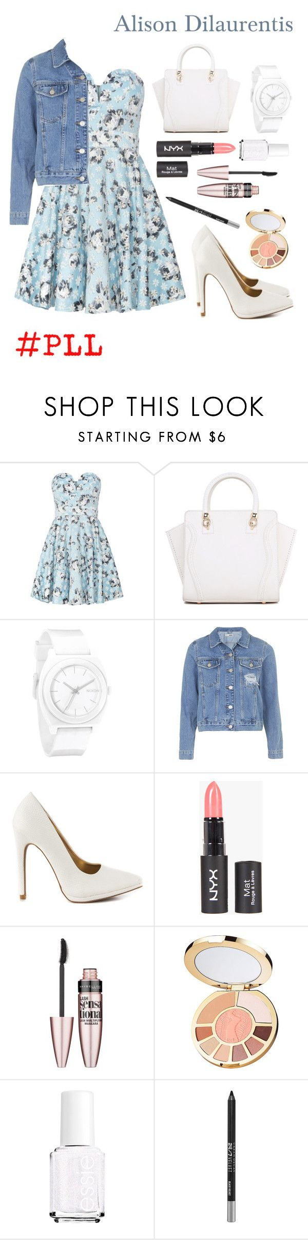 """""""Alison Dilaurentis"""" by horsecrazy33 ❤ liked on Polyvore featuring TFNC, Nixon, Topshop, Qupid, Maybelline, tarte, Essie, Urban Decay, PrettyLittleLiars and pll"""