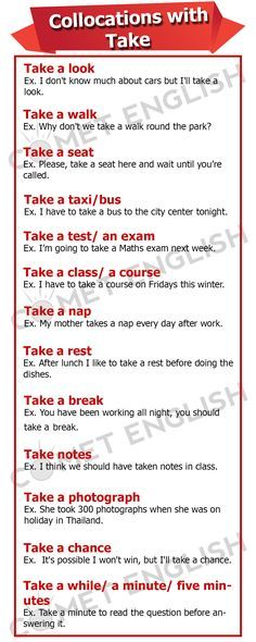 Collocations with TAKE Repinned by Chesapeake College Adult Ed. We offer free…