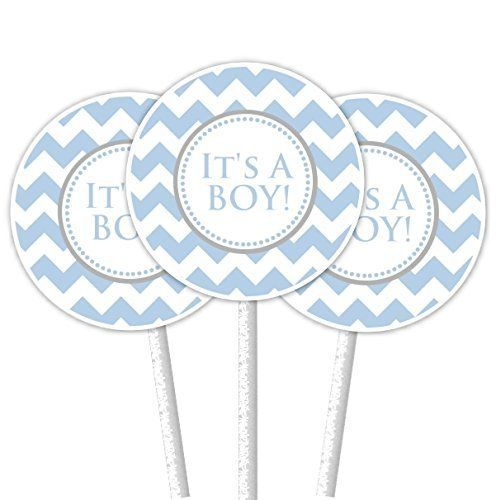 It's A Boy Blue Chevron Cupcake Toppers. ~ 24 cupcake toppers on 4.5 inch cupcake sticks. The tags on the toppers are 2 inch round and come printed on bright white premium card-stock. They come double-sided, attached securely to a white cupcake stick - ready to use in your cupcakes!.