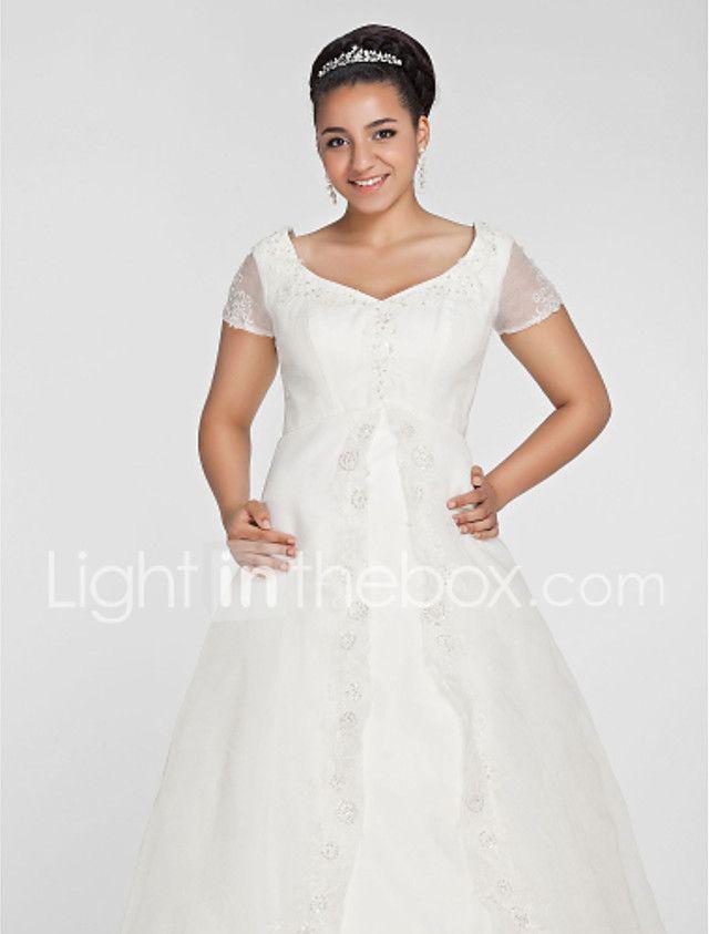 A-Linie Prinzessin V-Ausschnitt Kirchen Schleppe Organza Hochzeitskleid mit Perlenstickerei Applikationen durch LAN TING BRIDE® 2017 - €160.19