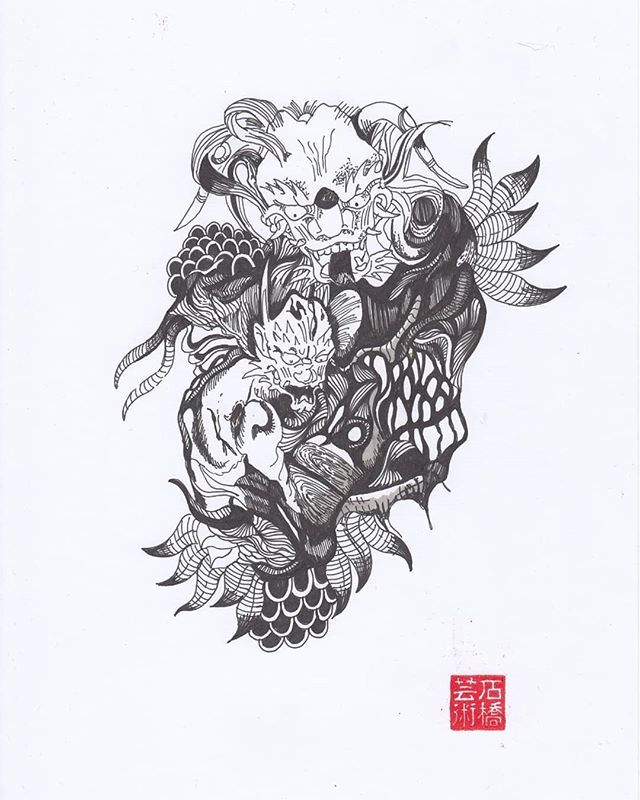 A Japanese Tattoo Style Drawing Artwork Drawing Draw Instagood Art Fineliner Photooftheday Doodling Cre Tattoo Style Drawings Japanese Tattoo Drawings