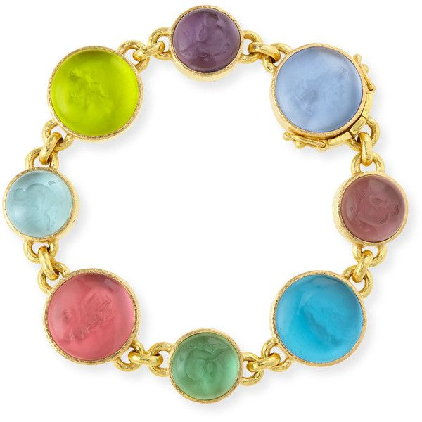 Elizabeth Locke 19k Gold Pastel Intaglio Link Bracelet (€7.800) ❤ liked on Polyvore featuring jewelry, bracelets, pastel jewelry, gold jewellery, multi color jewelry, hammered jewelry and multi colored jewelry