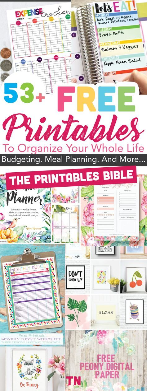 Free printables | 53+ Of The Most Beautiful FREE Printables To Organize Your Whole Life: The Printables BIBLE | Beautiful free printables to organize your whole life | Budgeting printables | Meal Planners |