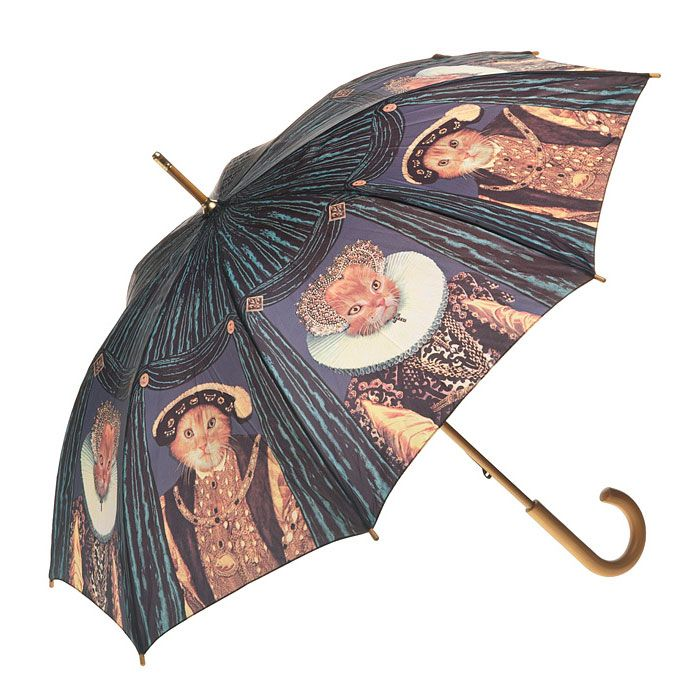 Stunning rain umbrellas for Cats lovers - Clifton Artbrella Royalty Cats. Classic wooden handle and tips. Lightweight construction and beautifully printed.