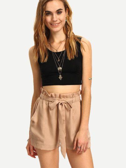 Shorts mit hoher Taille und Gürtel -khaki