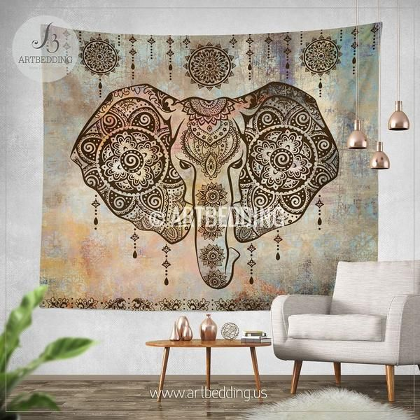Boho Elephant Tapestry, Ganesh Elephant wall hanging, Indie shabby chic tapestry wall decor, bohemian wall tapestries, artbedding wall art