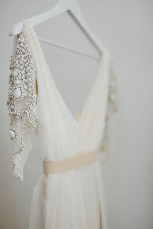 wedding dress beaded details.
