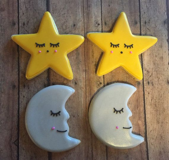This listing is for 1 Dozen Moon and Star Cookies *For an additional charge of $5 a message cookie can be added to your order. These cookies