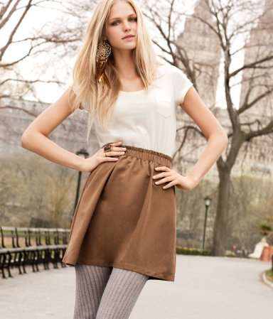 Love the grey tights and camel skirt