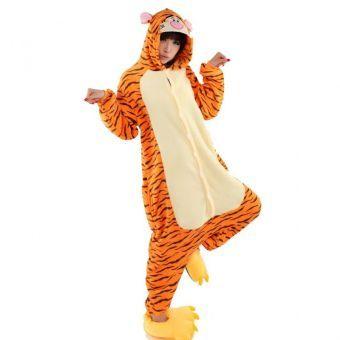 Unisex Cálido Pijamas para Adultos Cosplay Animales de Vestuario Ropa de dormir - Naranja Tigre