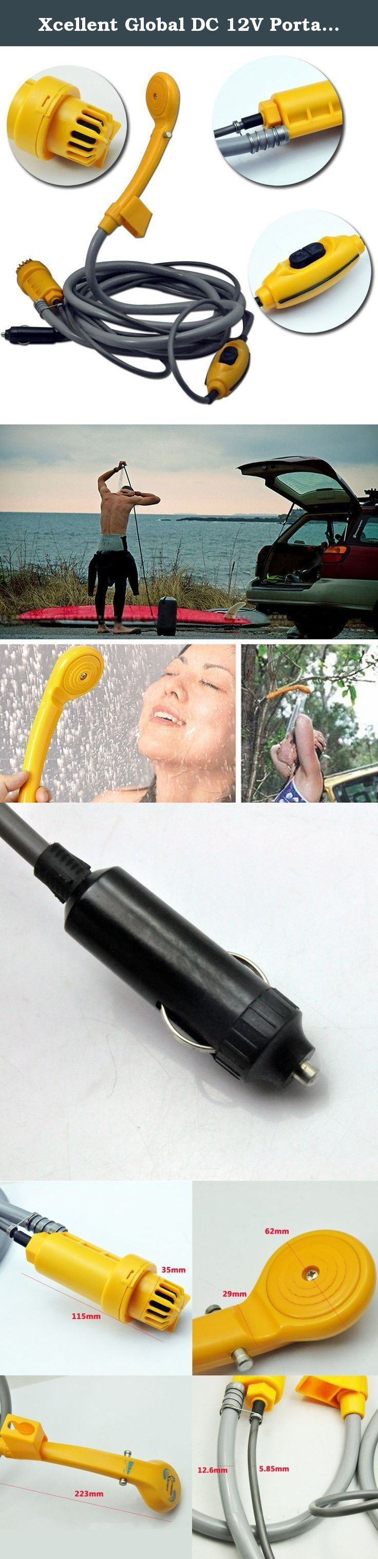 Xcellent Global DC 12V Portable Shower Spray Set with Water Pump for Travel Outdoor, Camping, Boating, Sun Bathing, Pet Washing and Baby Shower AT012. The Portable shower can be connected to water container, to allow you to easily wash your car, pans, dogs, outdoor shoes and have a great shower with sun heated water. Besides, the water power can be adjusted to meet your need. Features: - Work with water container - Great for having a shower, cleaning your car, dog, shoes, etc. - Water…