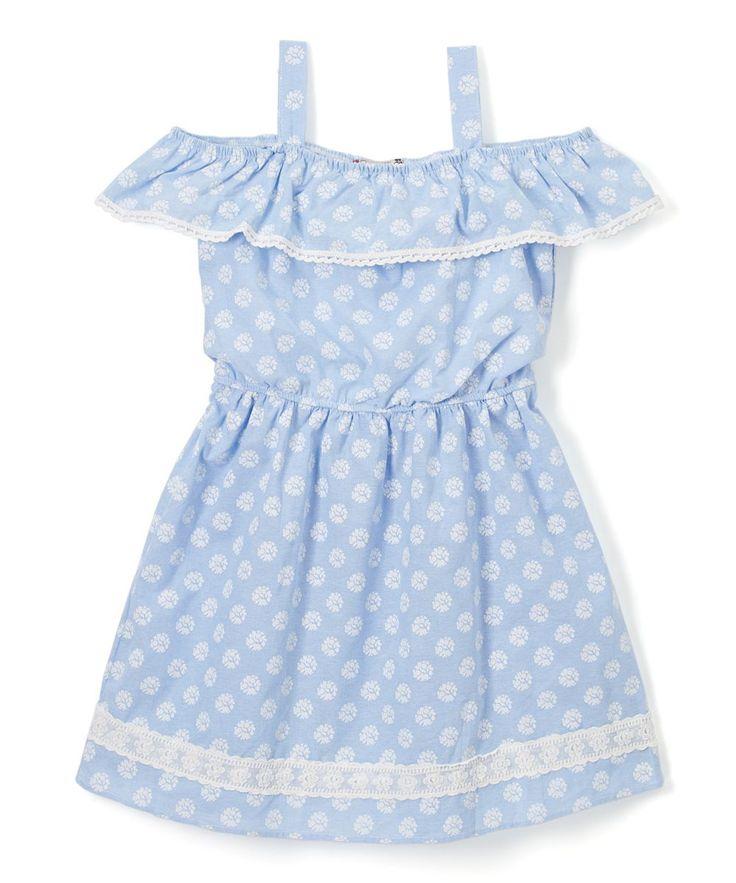 Blue Dot Shoulder-Cutout Ruffle-Accent Blouson Dress - Girls
