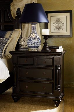 Tommy Bahama Home Kingstown Stony Point Nightstand... Love the black, but need to dust almost daily.