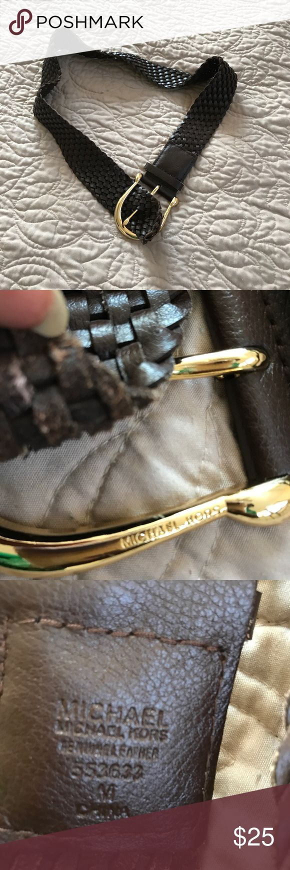Michael Kors brown leather braided belt. Sz. Med. Michael Kors brown leather braided belt. Sz. Med.43 inches long total. Michael Kors Accessories Belts