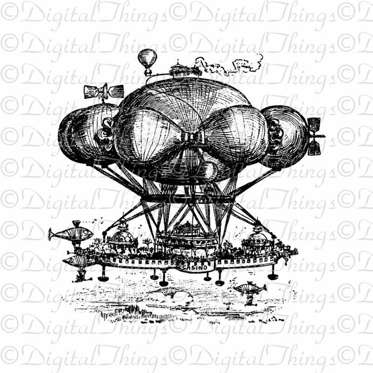 French Decor Steampunk Airship Paris Casino Wall by DigitalThings