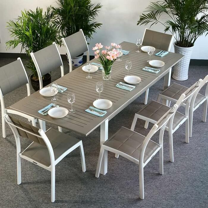 109 Reference Of 8 Seater Extendable Dining Table And Chairs In 2020 8 Seater Dining Table Rectangular Dining Table Aluminium Garden Furniture