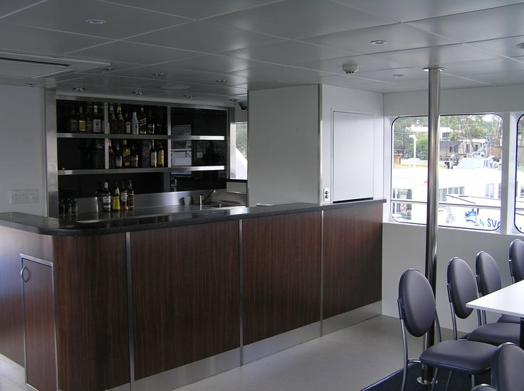 The dumbwaiter has been installed on a luxury cruiser based in Sydney Harbour.  This dumbwaiter was specially modified to allow for the moving water.