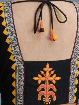 Black-Yellow Embroidery Detail Back Cotton Blouse