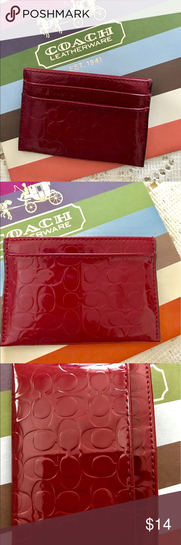 Coach Embossed Signature Credit Card Holder Authentic gently used credit card holder 3 outside slots 1 multifunctional open pocket in the middle Coach Bags Wallets