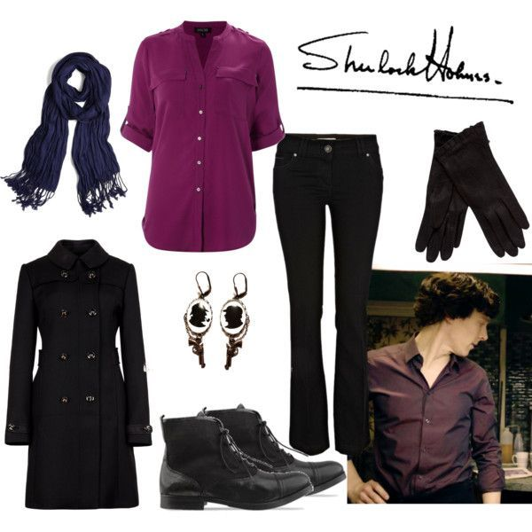 Polyvore BBC Sherlock inspired outfit cosplay image