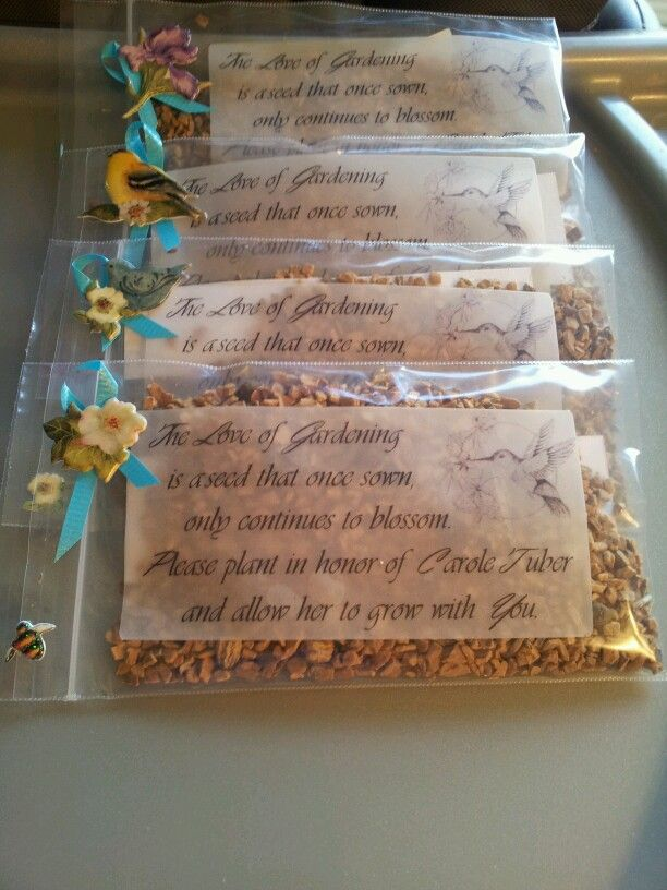 Memorial Garden seeds.  We made these for my mother in laws funeral instead of prayer cards. They came out beautiful <3