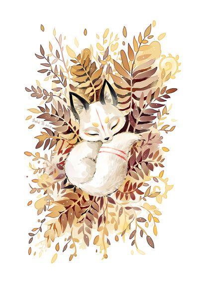 L'oeuvre représente un petit renard blanc et beige entouré de feuilles, comme si celui-ci se serait endormi sur l'herbe dans un champs avec des herbes hautes. L'animal est devant un fond blanc. L'oeuvre a probablement été fait à l'acrylique ou au crayon. Lorsque je regarde l'oeuvre, je me sens calme, car on dirait que le renard se repose. J'aime cette oeuvre, car je la trouve très originale. Aussi, car j'aime le réalisme et la texture de l'oeuvre.