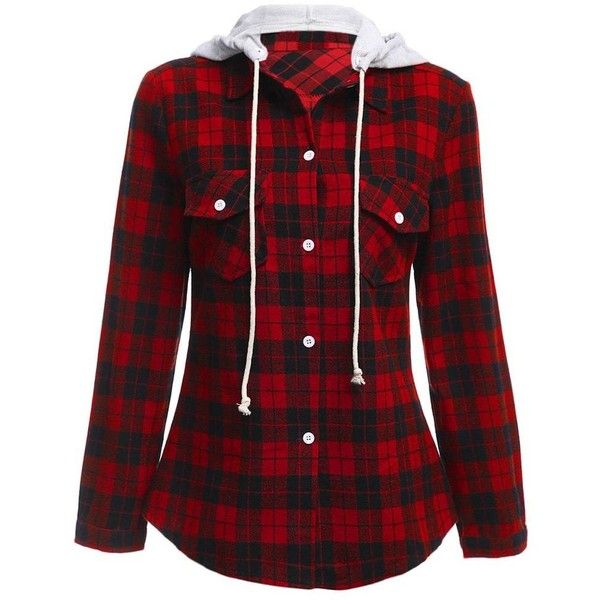 Long Sleeve Drawstring Hooded Plaid Flannel Shirt ($17) ❤ liked on Polyvore featuring tops, flannel shirt, shirt top, long sleeve flannel shirts, plaid shirts and plaid top