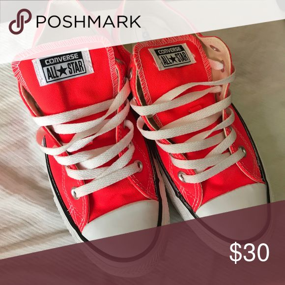 Low Converse Women's 9. Worn once. Like new. Neon orange/pink Converse Shoes Sneakers