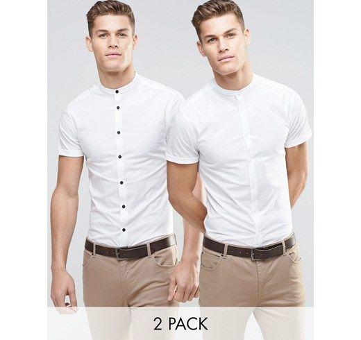 Pack de 2 camisas ajustadas en blanco con cuello henley y manga corta de ASOS. AHORRA UN 15% asos el-rosa Algodón