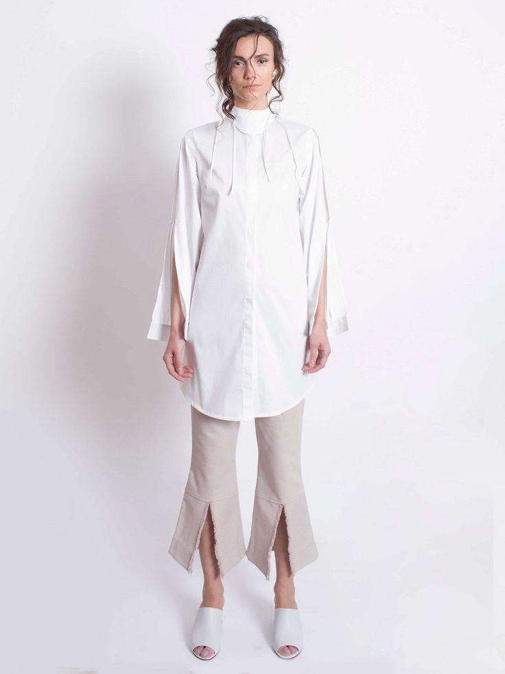 Petal Sleeve Shirt-White
