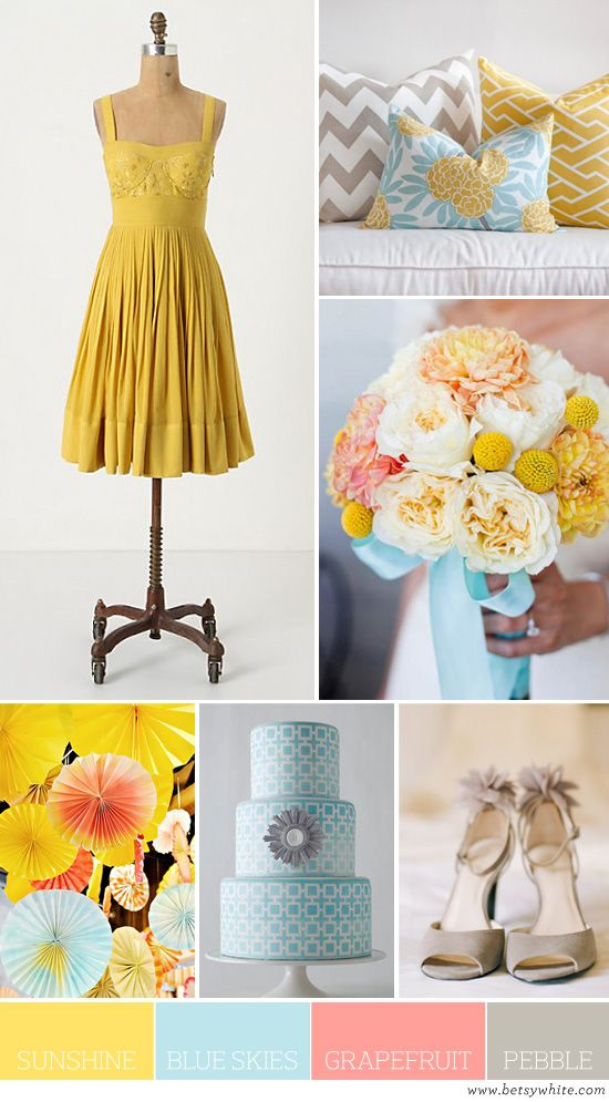 Color Palette: Sunshine, Blue Skies, Grapefruit and Pebble | Flights of Fancy