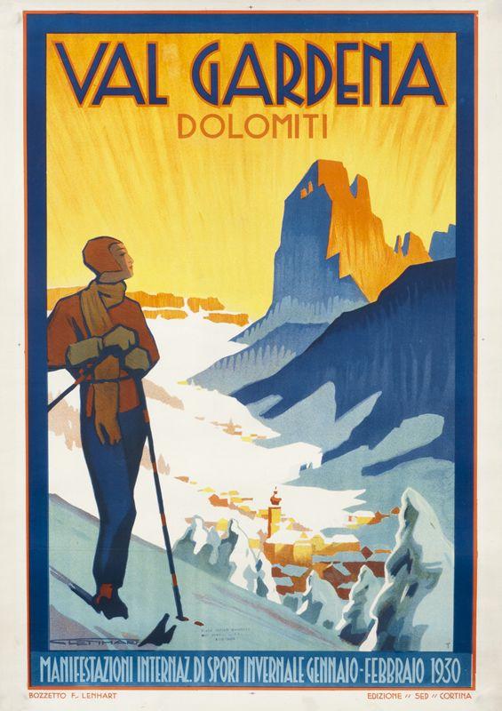 Val Gardena Dolomiti by Lenhart, Franz | Shop original vintage #ski #posters online: www.internationalposter.com