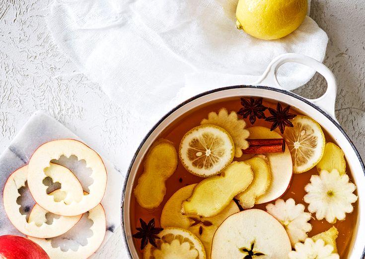 Hvid gløgg med æblecider, ingefær og bourbon