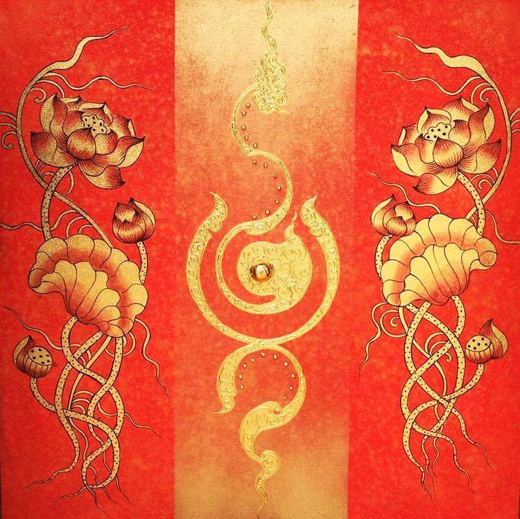 Abstract Flower Art Thai Golden Lotus Flower | Abstract ...