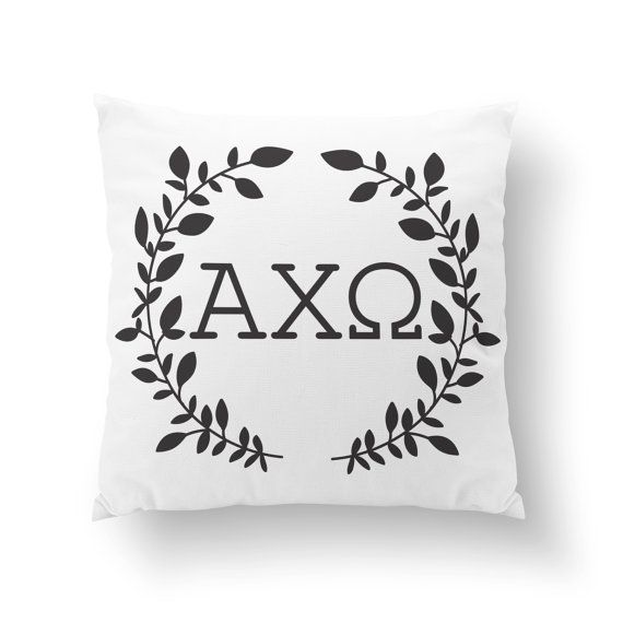 Alpha Chi Omega Wreath Pillow  White Front/Colored by Sororitee, $20.00
