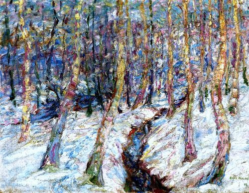 ALONGTIMEALONE: wonderingaboutitall:   Birch Trees In The Snow -.by Emil Nolde..