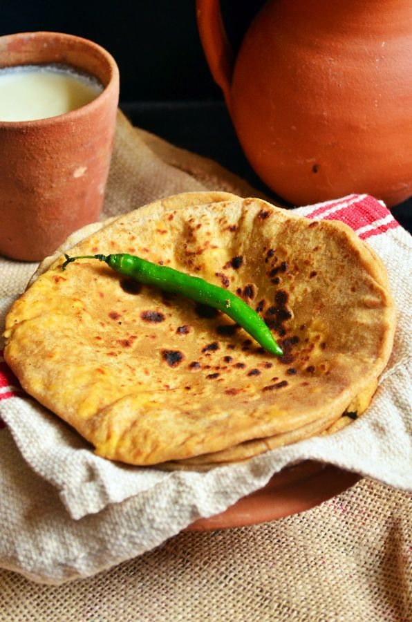 Paratha with green chilie and some lassi to wash it down.