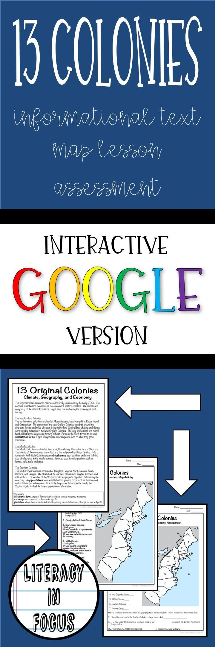 13 Colonies Text Map And Quiz Digital And Paper Option Available Middle School Resources Kids Worksheets Printables 13 Colonies Map [ 2160 x 720 Pixel ]