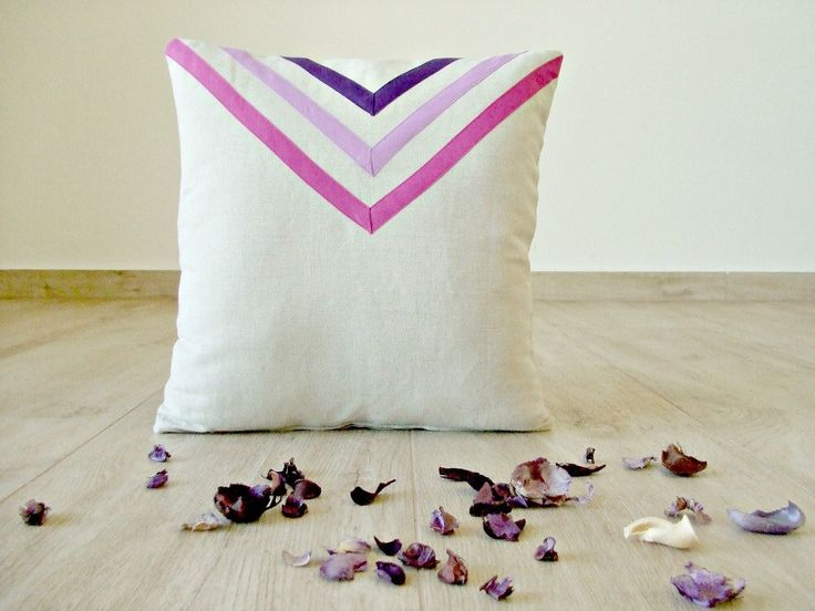 Purple triangle pillow cover, violet / lilac / purple chevron cushion, linen cushion 16x16, geometric pillow, purple arrow, boho pillow by acountrystory on Etsy https://www.etsy.com/listing/181482025/purple-triangle-pillow-cover-violet