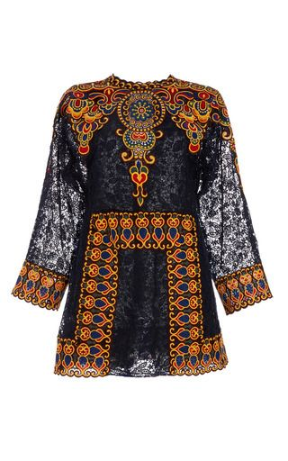 Afrika Guipure Long Sleeve Dress by VALENTINO for Preorder on Moda Operandi
